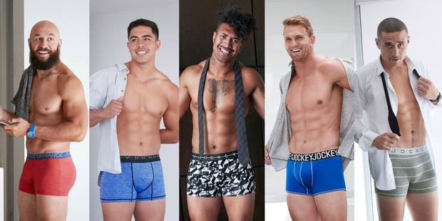 Loading Images of, left to right, DJ Forbes, Scott Curry, Ardie Savea, Anton Lienert-Brown and TJ Perenara will soon grace shopping centres and billboards everywhere in Jockey's new ad campaign.
