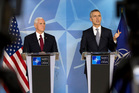 United States Vice President Mike Pence, left, and NATO Secretary General Jens Stoltenberg address a media conference at NATO headquarters in Brussels. Photo / AP