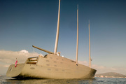 Sailing Yacht A floats in the bay of Gibraltar after being seized by authorities. Photo / AP