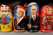 Matryoshka dolls depicting US President Donald Trump, centre left and Russian President Vladimir Putin. Photo / AP