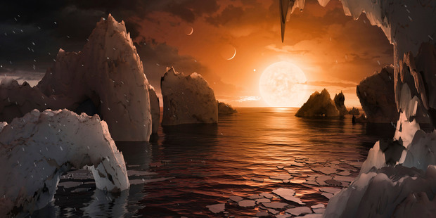 Loading This image provided by NASA/JPL-Caltech shows an artist's conception of what the surface of the exoplanet TRAPPIST-1 may look like. Photo / NASA/JPL-Caltech