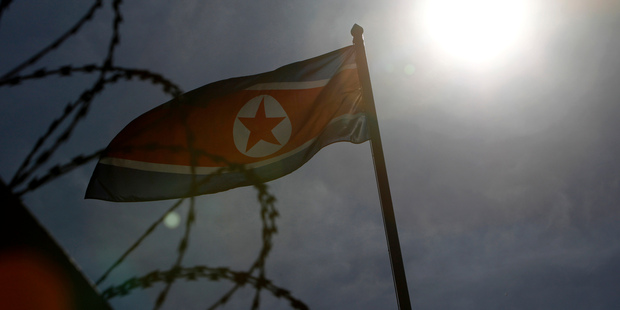 A North Korean flag waves at North Korean Embassy in Kuala Lumpur, Malaysia. Photo / AP