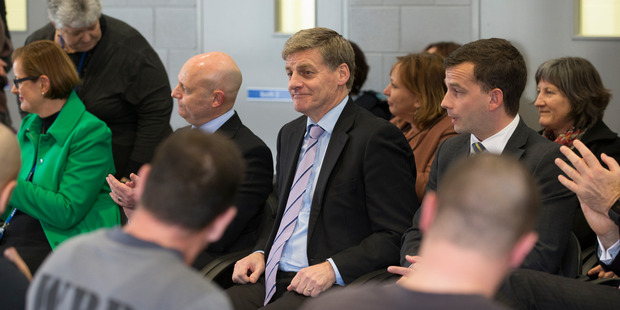 Prime Minister Bill English and Act leader David Seymour at the graduation ceremony for prisoners from the Howard League's literacy programme last year. Photo / Mark Mitchell