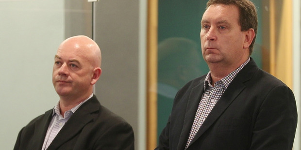 Loading Stephen Borlase (left) was found guilty on eight bribery and corruption charges and Murray Noone (right) was found guilty on six charges at the High Court in Auckland today. Photo / Greg Bowker