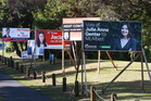 Mt Albert byelection billboards in Auckland. Photo / Doug Sherring