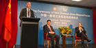 Lawrence Yule addresses Chinese President Xi Jinping and then Prime Minister John Key during a 2014 forum. File photo / Greg Bowker