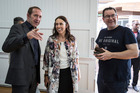 Labour Party leader Andrew Little (left) with MPs Jacinda Ardern and Grant Robertson, at the launch of Jacinda Ardern's s Mt Albert byelection campaign. Photo / Michael Craig