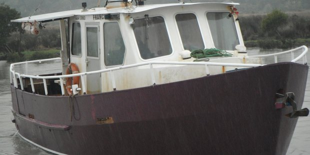 The Francie charter boat which capsized and sank in the Kaipara Harbour.