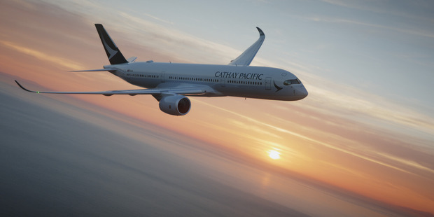 Cathay Pacific Airbus A350WXB flies to Auckland now.