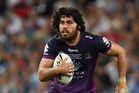 Tohu Harris of the Storm runs the ball during the 2016 NRL Grand Final match between the Cronulla Sharks and the Melbourne Storm. Photo / Getty Images.