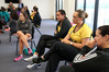 Cathrine Tuivaiti (2nd from right) conducts a brainstorming session with secondary school players at the Hawke's Bay Netball Centre HQ in Hastings. PHOTO/Duncan Brown