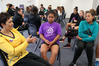 Yvette McCausland-Durie (yellow) engages with secondary school players Makere Cunningham, Jahydee Moke and Josephine Lolohea during a clinic in Hastings. PHOTO/Duncan Brown