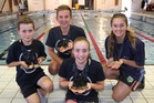 BAY'S BEST: Hawke's Bay four medal winners from left Ryan Hurley, Jake Stephens, Olivia Wellington, and Reese Drager. PHOTO/DUNCAN BROWN