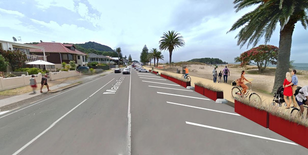 Mock-up of Marine Parade with separated cycleway and angle parking. Photo/supplied