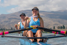 TRIUMPHANT: Shannon Cox, left, and Maddi Brooke show of their gold medals from the 2017 New Zealand Rowing Championships. Photo/Photosport.nz