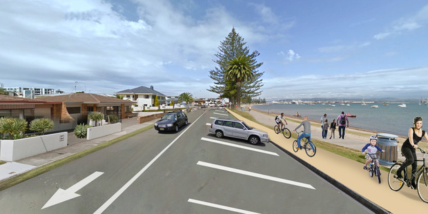A mock-up of what The Mall (Pilot Bay) would look like - one-way for motorists with a separated cycleway. Photo/supplied