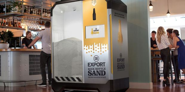 Through its recycling initiative DB Export aims to convert its used bottles to 100 tonnes of sand substitute. That's equal to about 500,000 beer bottles. Photo / Supplied