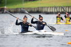 Lisa Carrington (left) and Jaimee Lovett helped secure yet another national title for Eastern Bay, winning the K2 200m title at New Zealand canoe racing championships at Lake Karapiro Photo by Jamie T