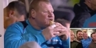 Watch: Watch: Goalkeeper sacked for pie-eating betting stunt