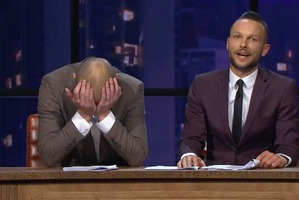 Jono and Ben react after Guy Williams drops an f-bomb during their very first live show. Photo/Three