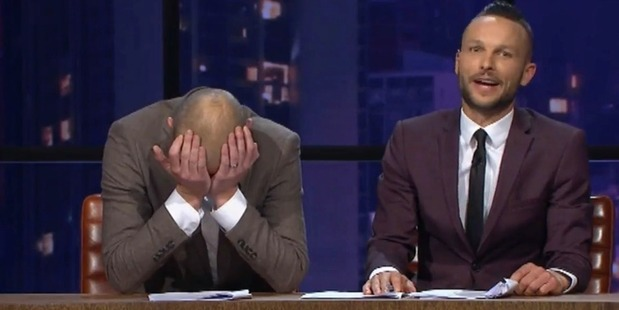Loading Jono and Ben react after Guy Williams drops an f-bomb during their very first live show. Photo/Three