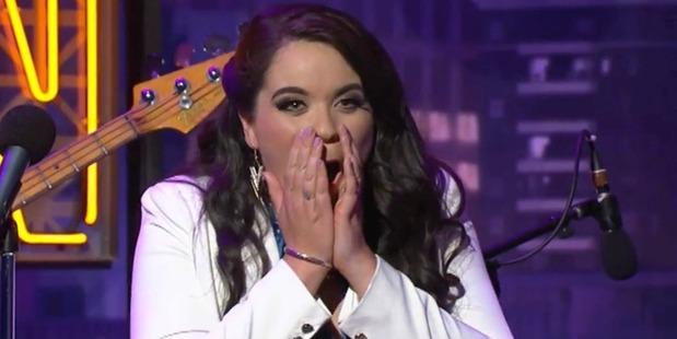 Laura Daniel reacts after Guy Williams' f-bomb. Photo/Three