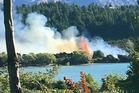 Fiery lakeside blaze extinguished