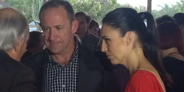 Jacinda Ardern and Labour leader Andrew Little at the Pt Chevalier bowling club. Photo / Nicholas Jones
