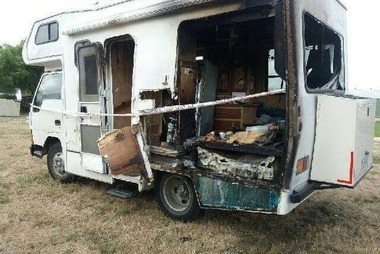 The burnt out campervan. Photo / Supplied