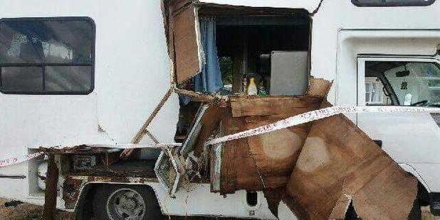 A mattress caught fire inside. Photo / Supplied