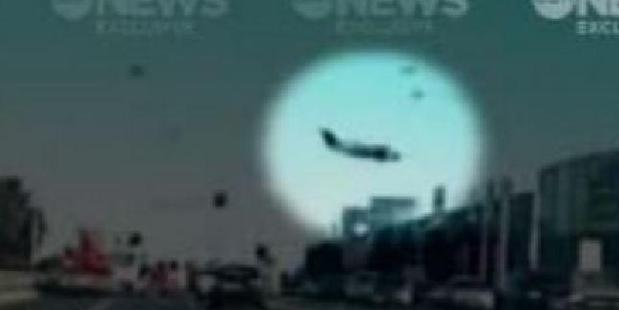 Loading The plane moments before it nosedived into the shopping complex in Essendon. Photo / Channel 10