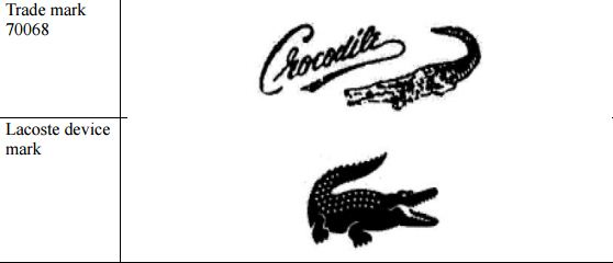 Trade mark 70068 and the Lacoste marks as shown in the Supreme Court decision.