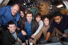 Directors Phil Lord and Christopher Miller with actors Woody Harrelson, Phoebe Waller-Bridge, Emilia Clarke, Alden Ehrenreich, Donald Glover and Joonas Suotamo as Chewbacca.