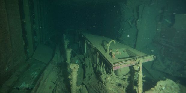 Loading The November 2016 earthquake has snapped the top decks from sunken Soviet cruise liner, the Mikhail Lermontov, in the Marlborough Sounds