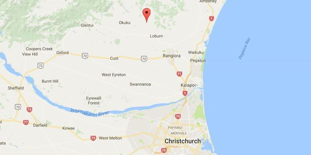The AOS responded to a callout on Loburn-Whiterock Rd, northwest of Rangiora. Photo / Google Maps