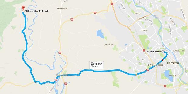 The pursuit took place over 23 kilometres. Photo / Google Maps