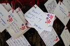 Messages left for victims. Photo / Martin Hunter, Christchurch Star
