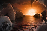An artist's conception of what the surface of the exoplanet TRAPPIST-1f may look like. Photo / NASA/JPL-Caltech via AP