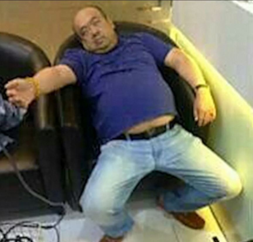 Leaked photos showed Kim Jong Nam slumped in a chair with his eyes closed. Photo / Supplied