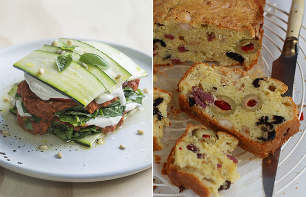 From left: Raw summer lasagna and Allyson Gofton's  olive cake. Photo / Bite magazine