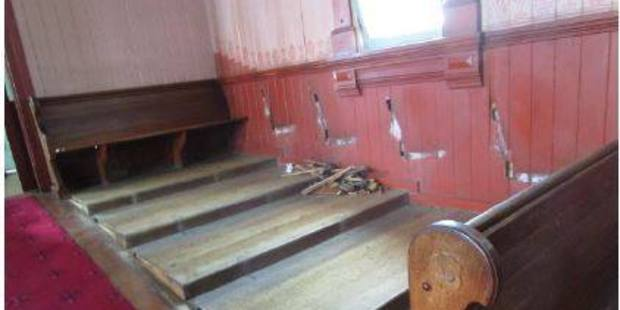 It turns out the pews were removed by a contractor ahead of the demolition of the church, and not taken by burglars. Photo / NZ Police