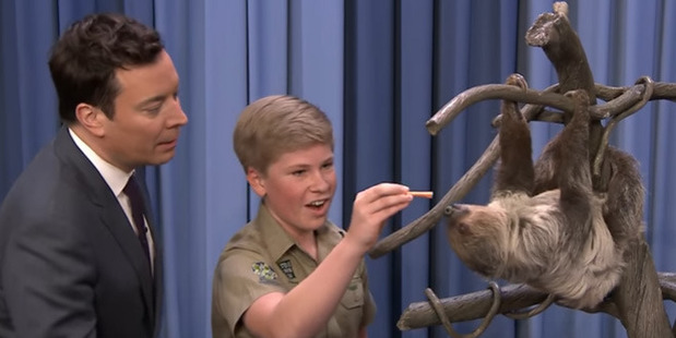 Robert introduces Jimmy to a sloth with the same kind of passion his dad always had. Photo / YouTube