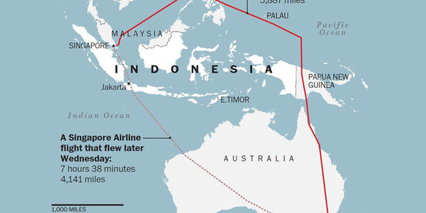 As you can see in this map the Israeli leader took an unusual detour when traveling from Singapore to Australia overnight. Photo / The Washington Post