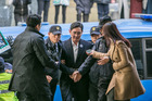 Jay Y. Lee (centre), vice co-chairman of Samsung Electronics, arrives at the Special Prosecutor's Office in Seoul. Photo / Bloomberg