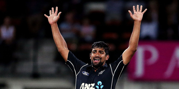 Ish Sodhi appeals for an LBW. Photosport