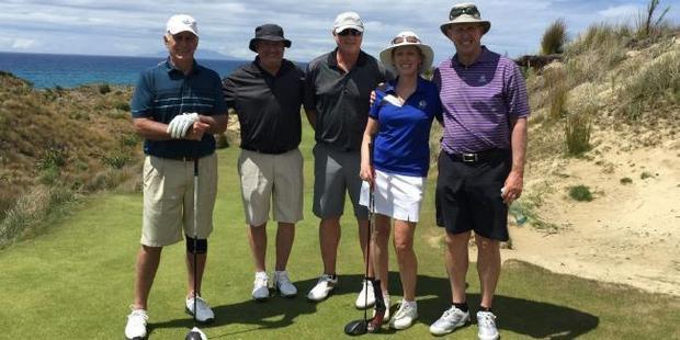 The four men with Glenn Garland's wife, Laura, at Tara Iti Golf Club.