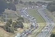 Two trucks have crashed on Auckland's Southern Motorway near the Bombay Hills. Photo / NZTA