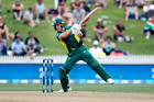 South African batsman AB de Villiers in action against the Black Caps in Hamilton. Photo / Alan Gibson