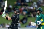 Martin Guptill produced NZ's individual highest chasing innings of 180 not out off 138 balls to secure victory over South Africa. Footage from Sky.