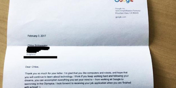 The response from the Google CEO. Photo / Supplied